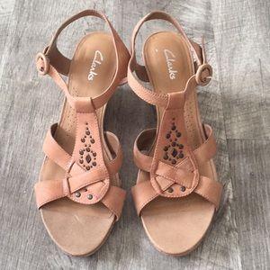 Clark's Studded Sandal Wedges